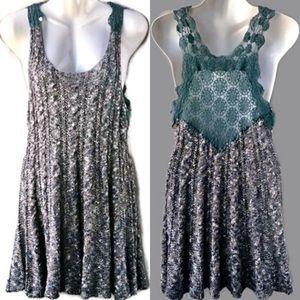 Free People Marled Knit W Turquoise Lace Dress Lrg